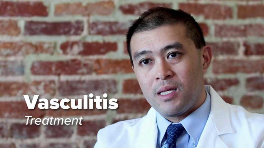 Dr. Erica Gapud sits in front of brick wall discussing Vasculitis Treatment